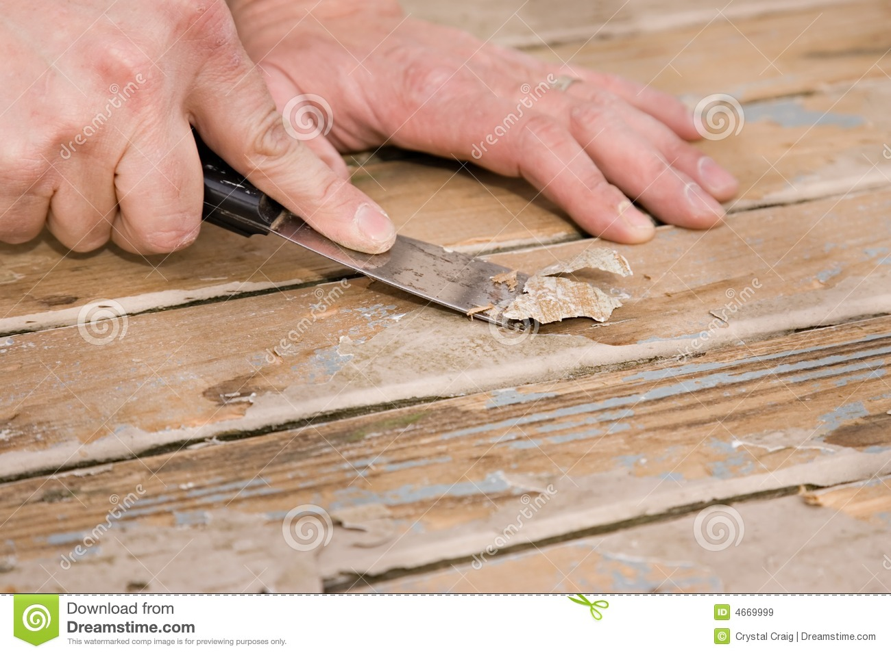 Scraping Paint On A Deck Royalty Free Stock Images - Image: 4669999