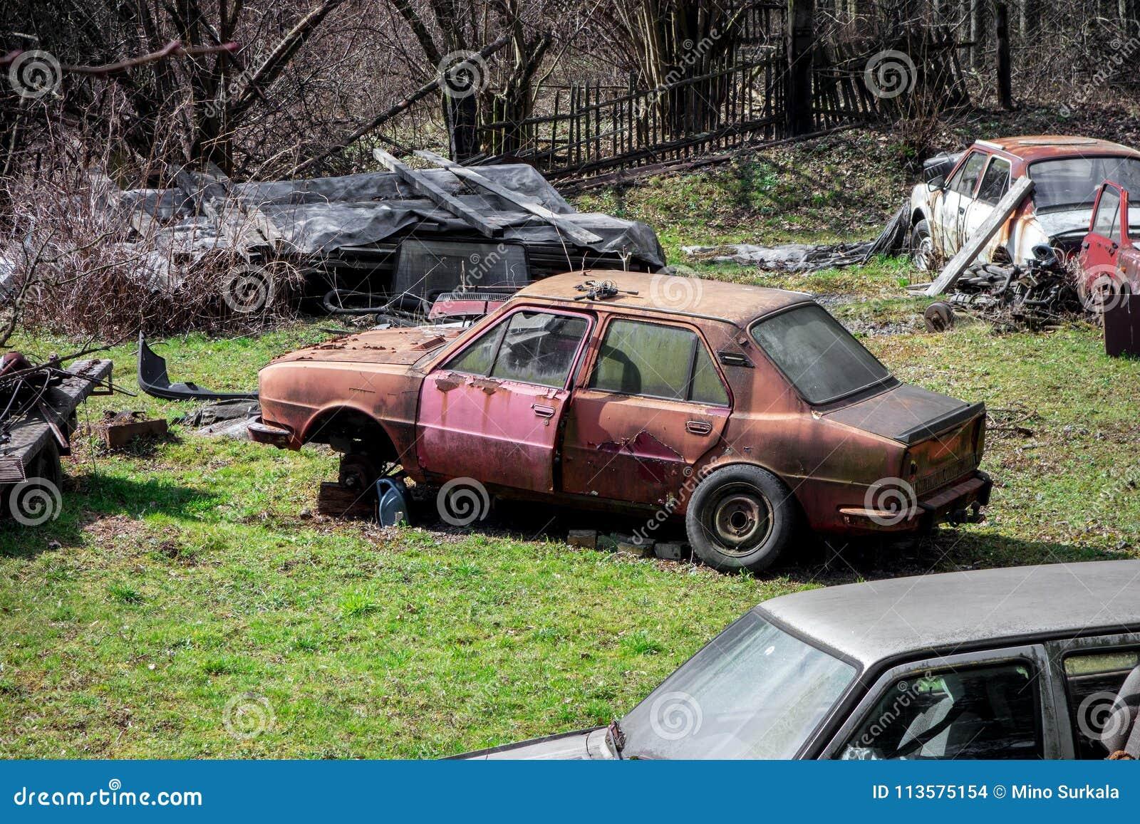 Scrapyard na poprzedni ogrodowy pełnym starzy zaniechani samochody