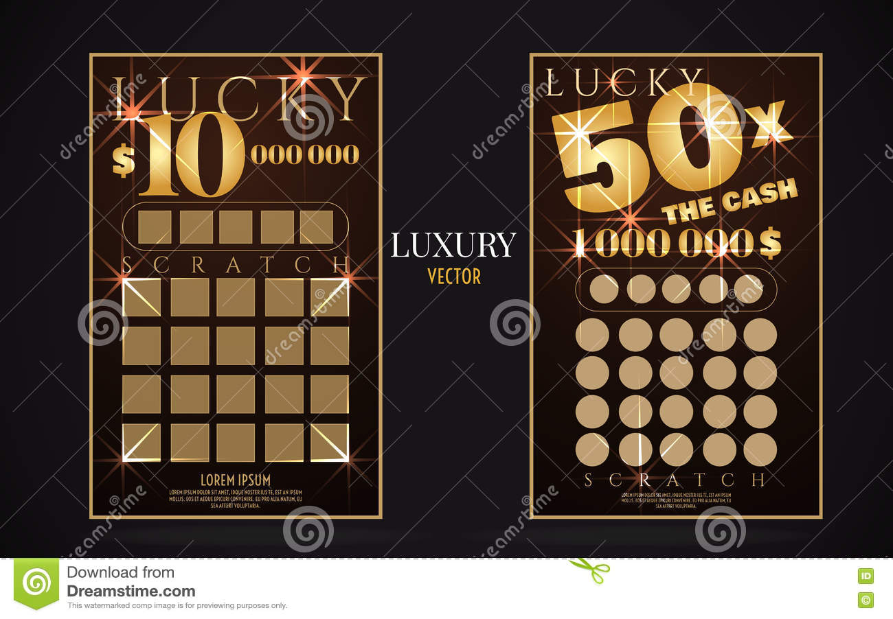 scratch lottery ticket vector design template stock vector image scratch lottery ticket vector design template