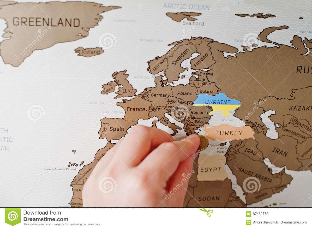 Scratch travel map of the world hand of man erase europe turkey royalty free stock photo gumiabroncs Choice Image