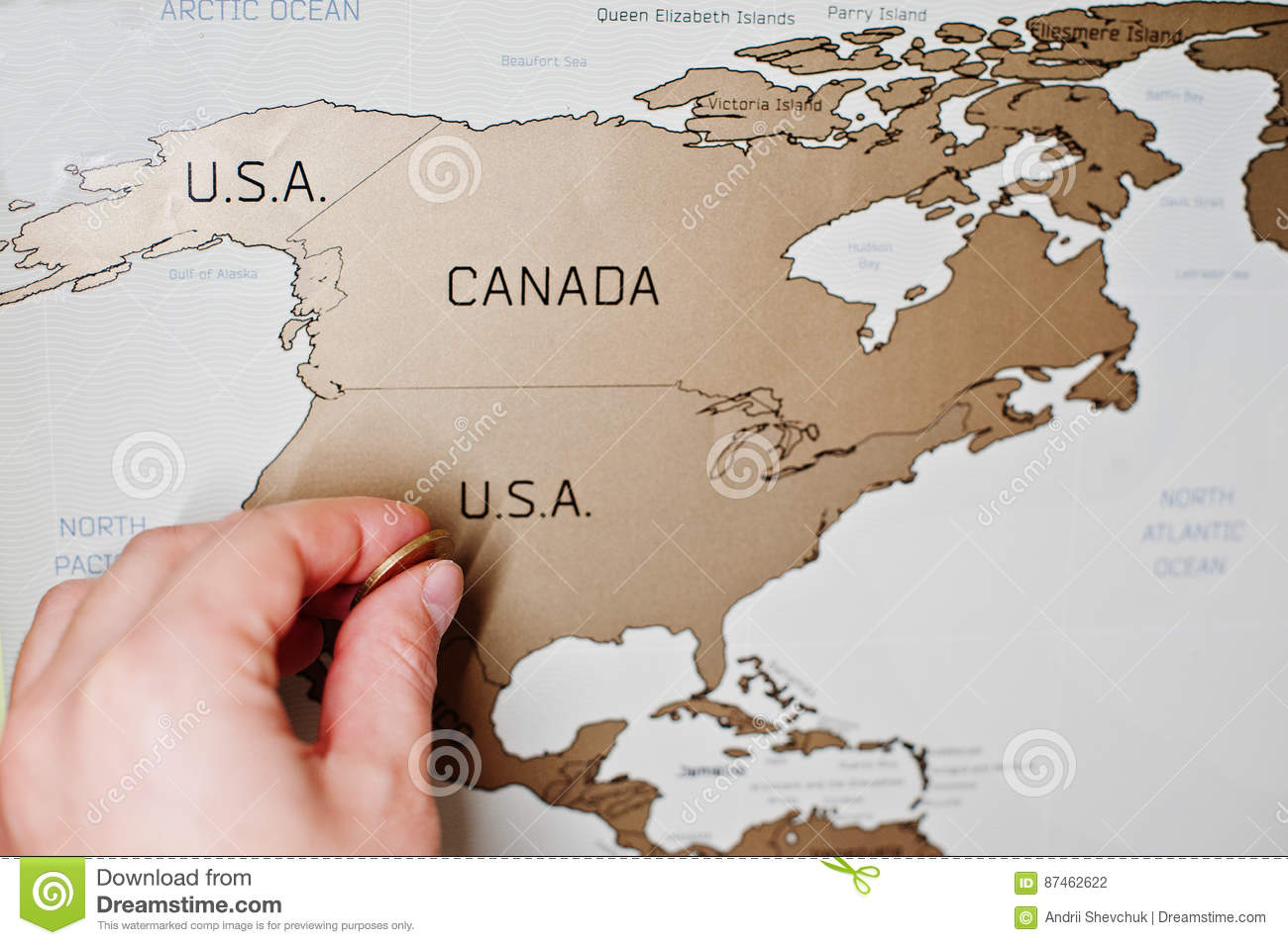 Scratch Travel Map Of The World. Hand Of Man Erase USA With ... on