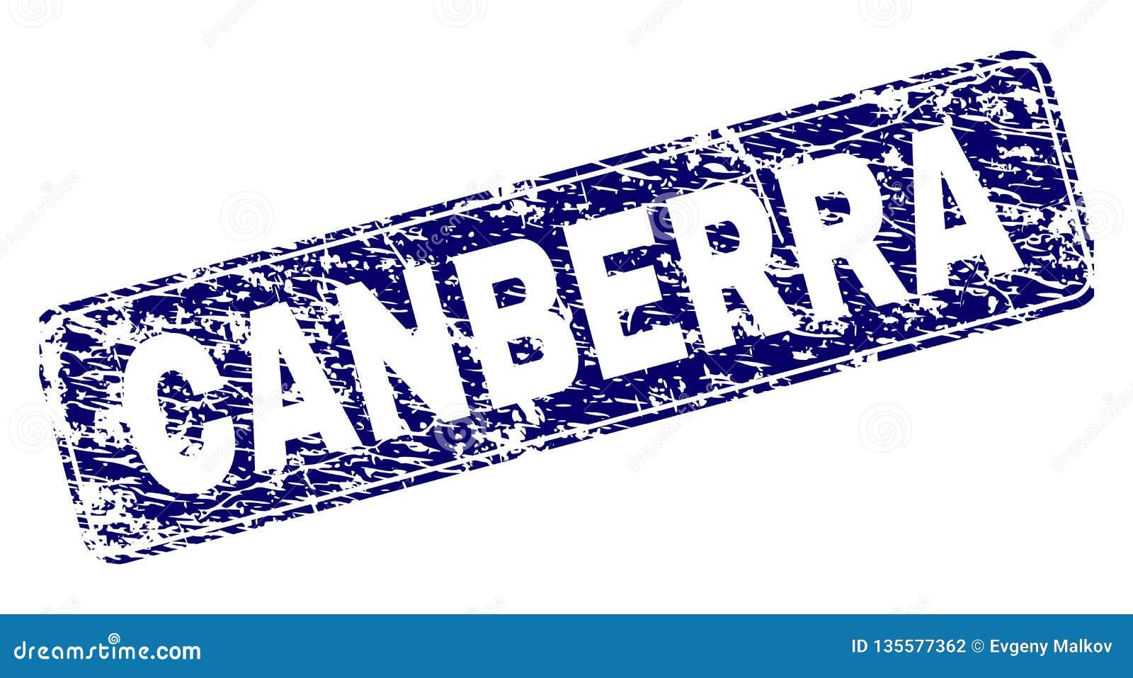 Scratched CANBERRA Framed Rounded Rectangle Stamp
