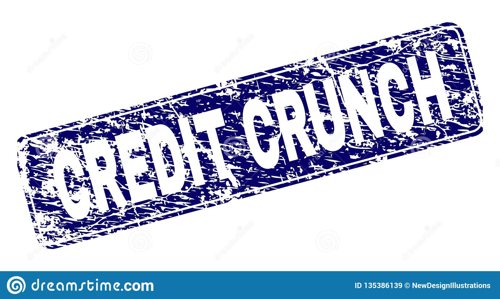 Scratched CREDIT CRUNCH Framed Rounded Rectangle Stamp