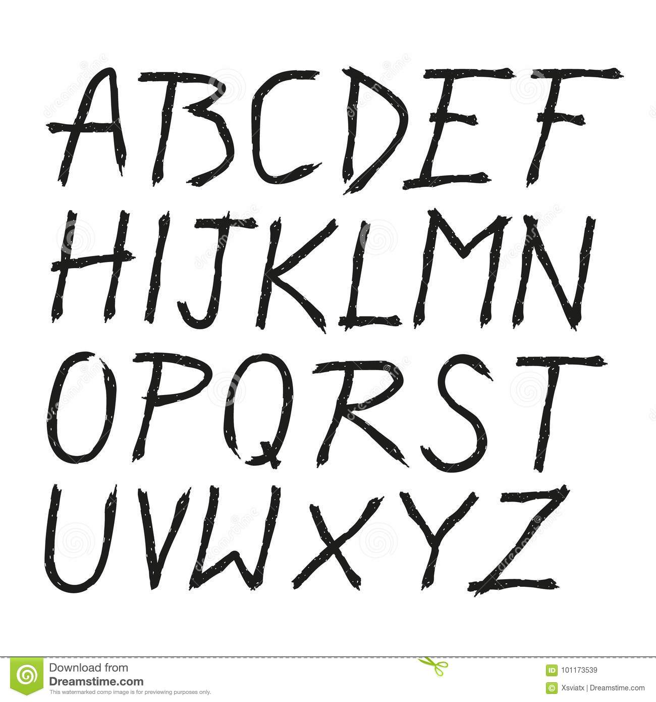 scratched doodle hand drawn letters font stock vector