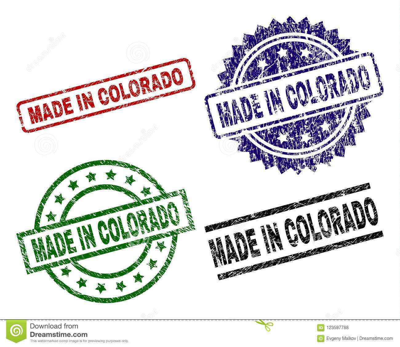 Scratched Textured MADE IN COLORADO Stamp Seals