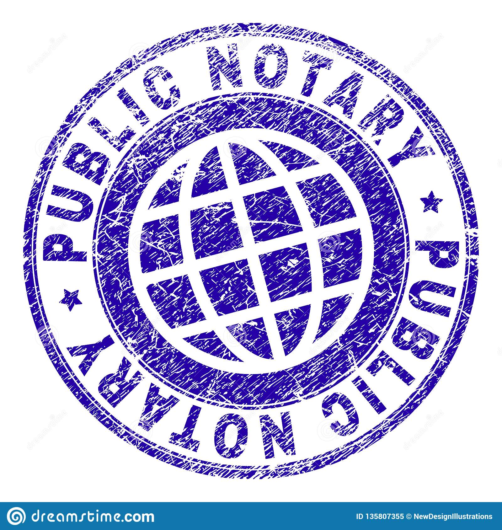 Scratched Textured Public Notary Stamp Seal Stock Vector