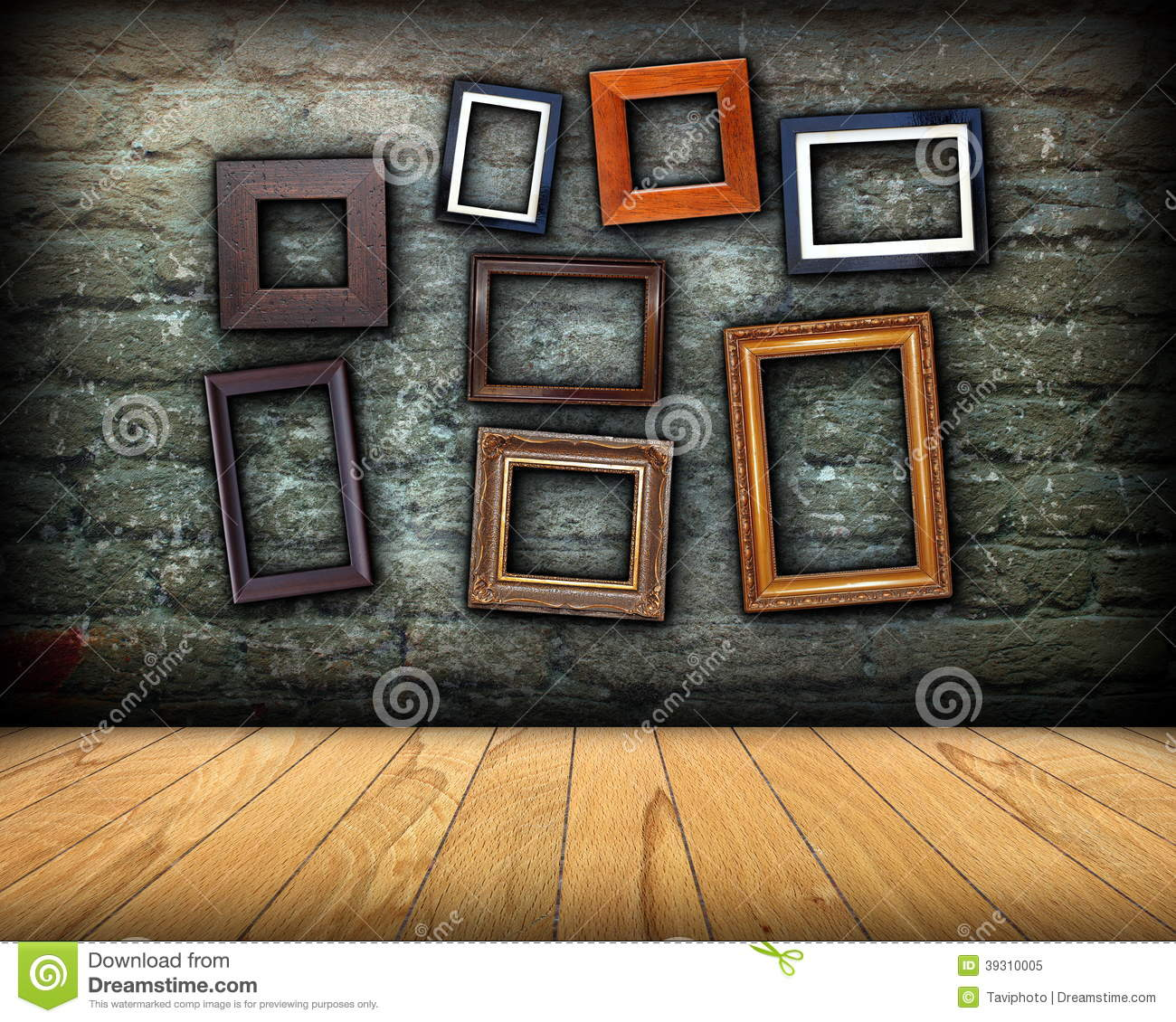 Wooden Wall Framing : Scratched wall full of wood frames stock photo image