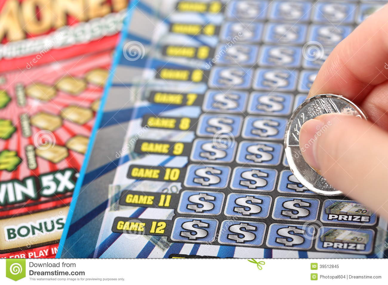Scratching lottery ticket