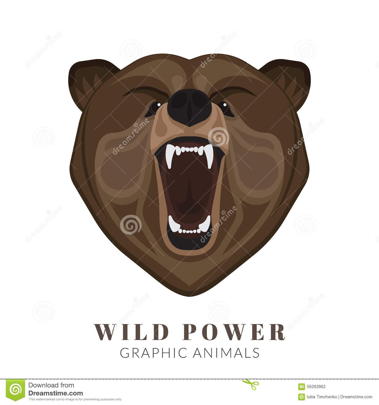 screaming bear stock vector image of mouth attack power