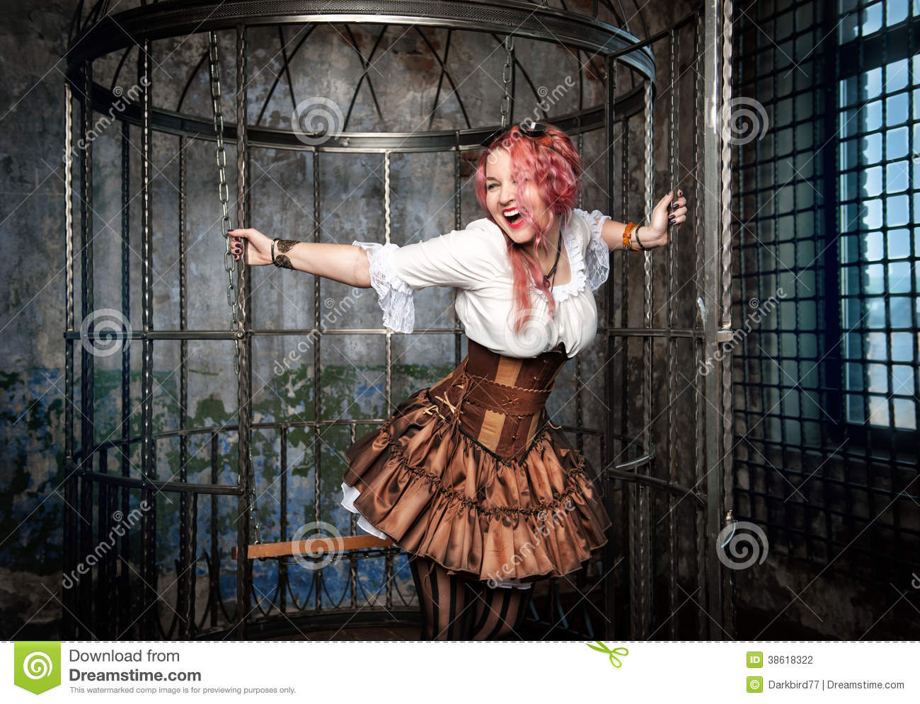 Screaming Beautiful Steampunk Woman In The Cage Stock ...