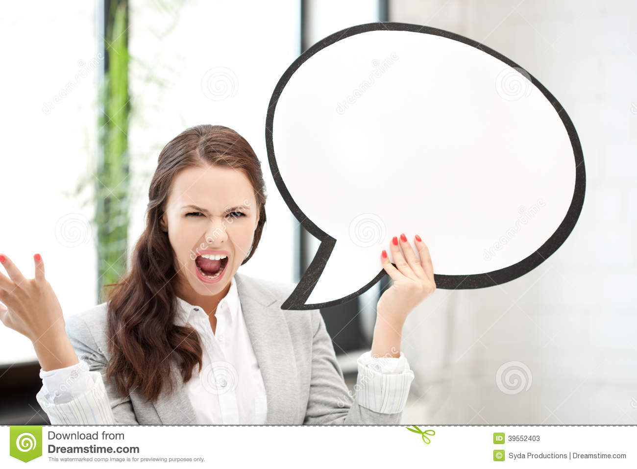 Screaming Businesswoman With Blank Text Bubble Stock Image