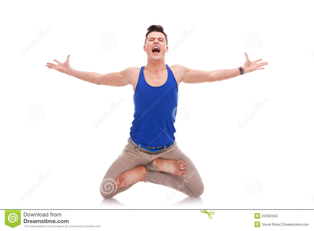 screaming man in a zen position stock photos image 23362343. Black Bedroom Furniture Sets. Home Design Ideas