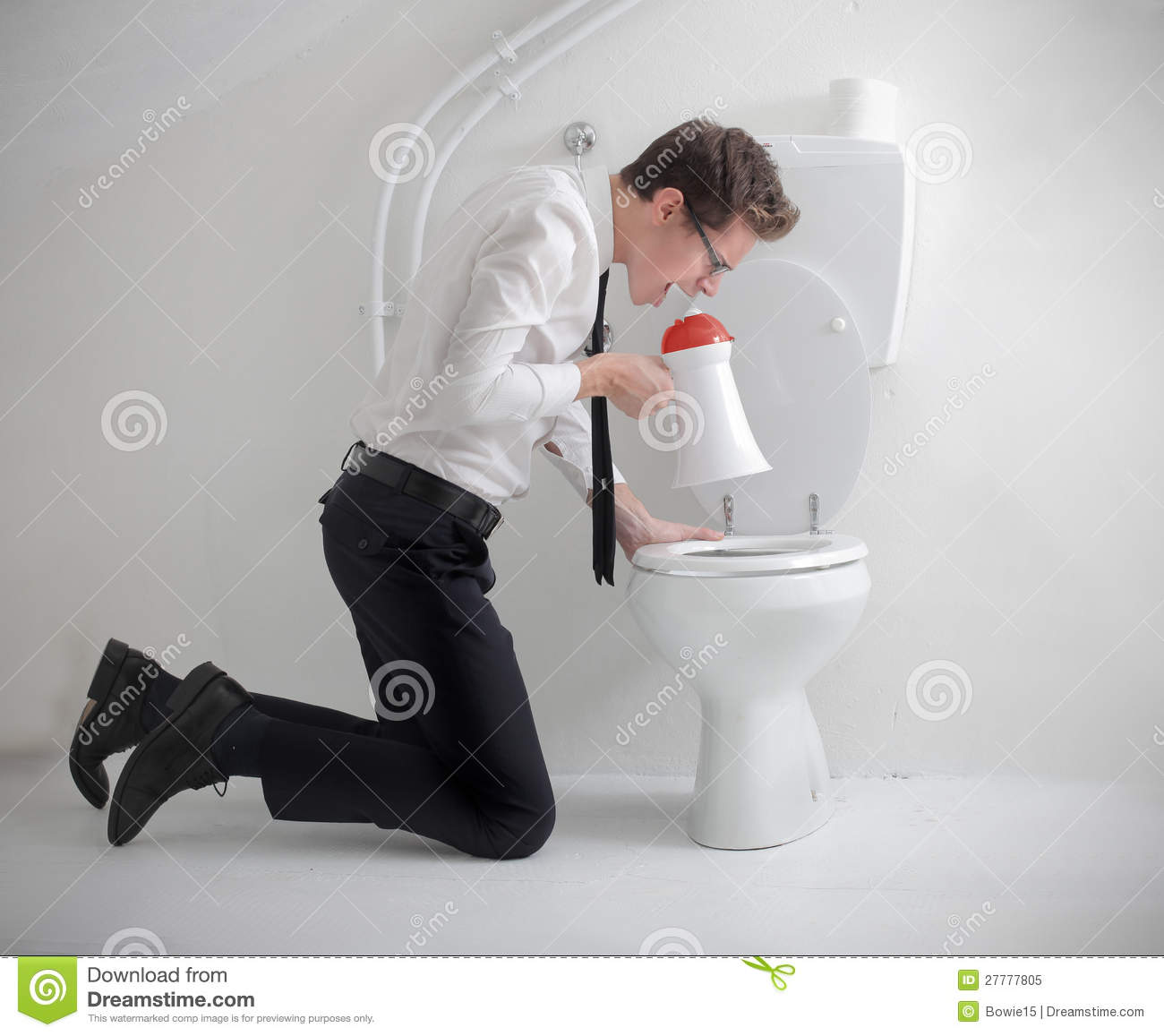 Screaming Into The Toilet Royalty Free Stock Photo Image