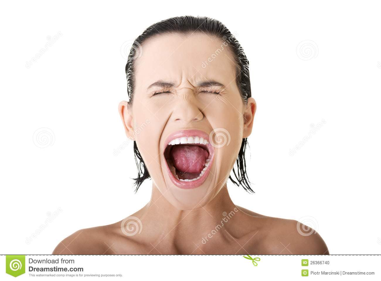 Screaming woman... Clipart Stressed