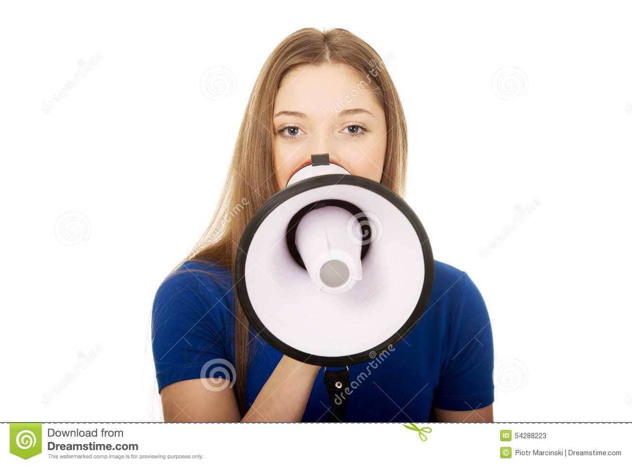 Screaming Young Woman With Megaphone. Stock Image