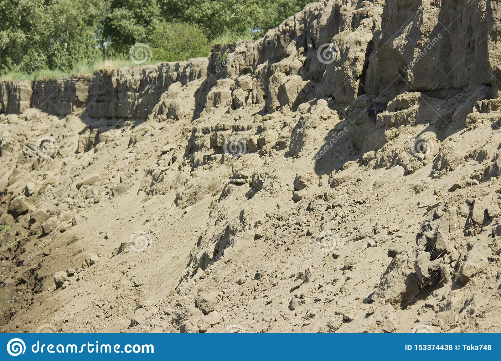 Scree of sand sand dunes, mountains, sand avalanche, texture, soil erosion, weathering