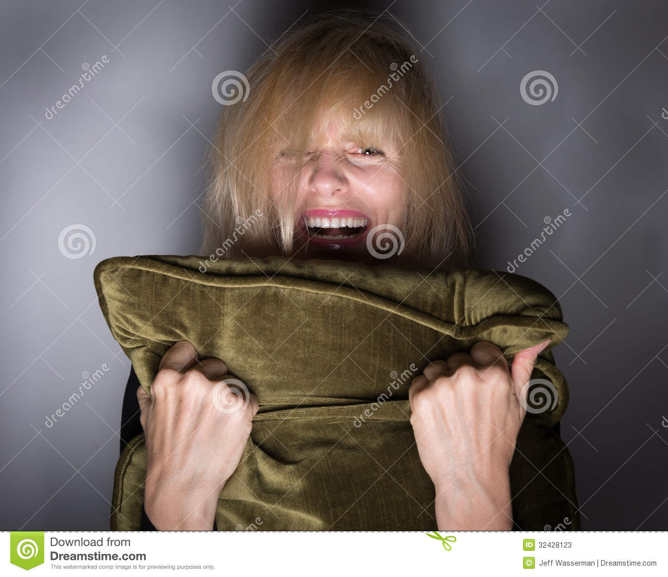 Screeming moment of fear stock photos image
