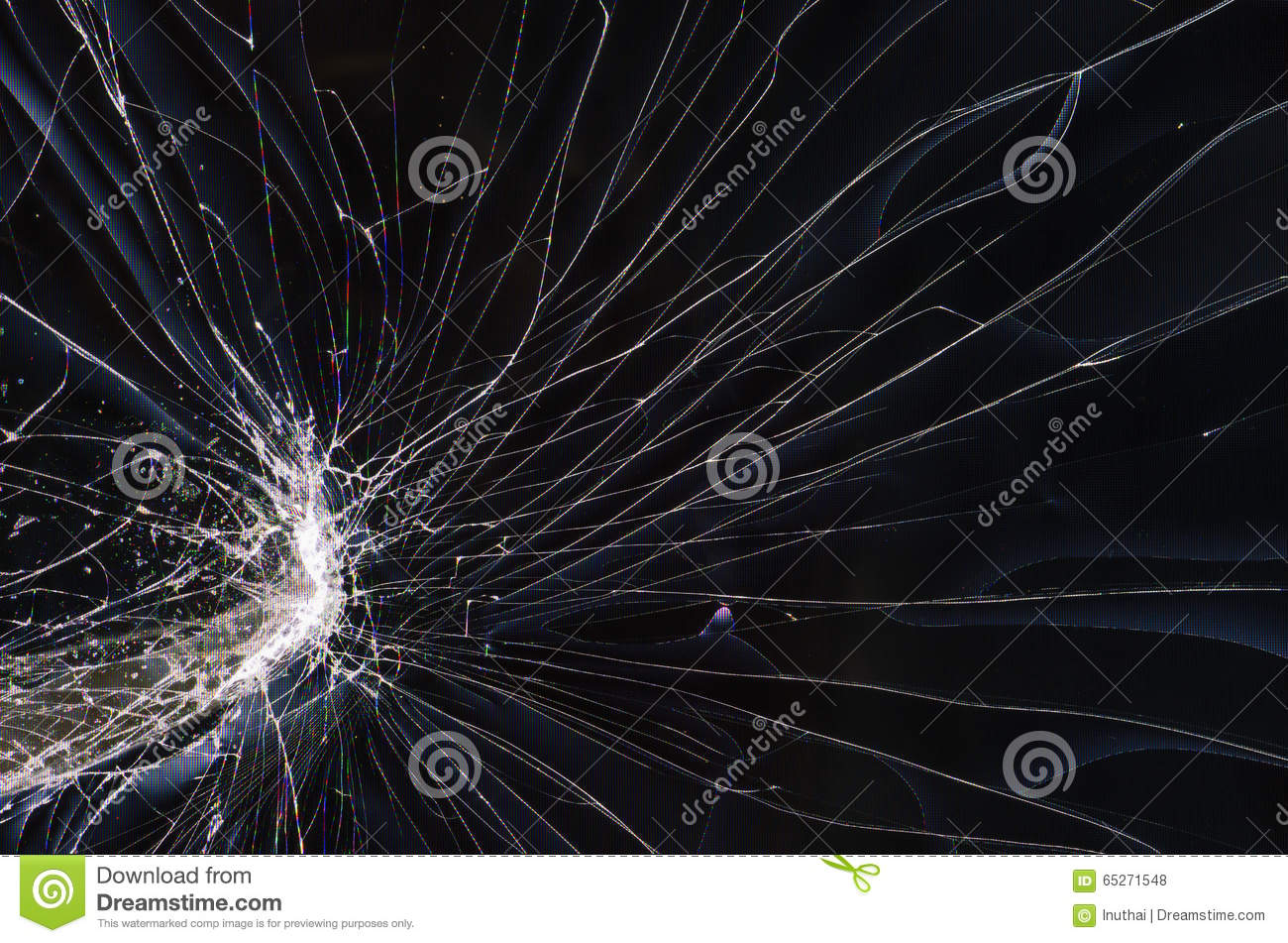 Screen Cracked Lcd Tv Stock Photo Image 65271548