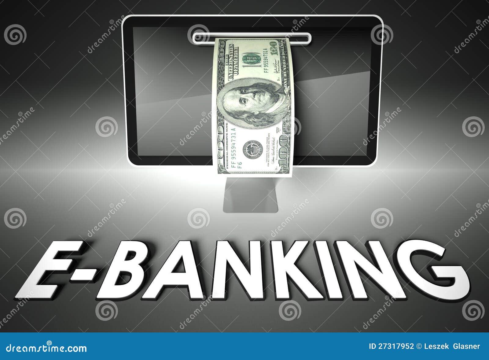 screen and dollar bill word e banking e commerce stock illustration image 27317952. Black Bedroom Furniture Sets. Home Design Ideas