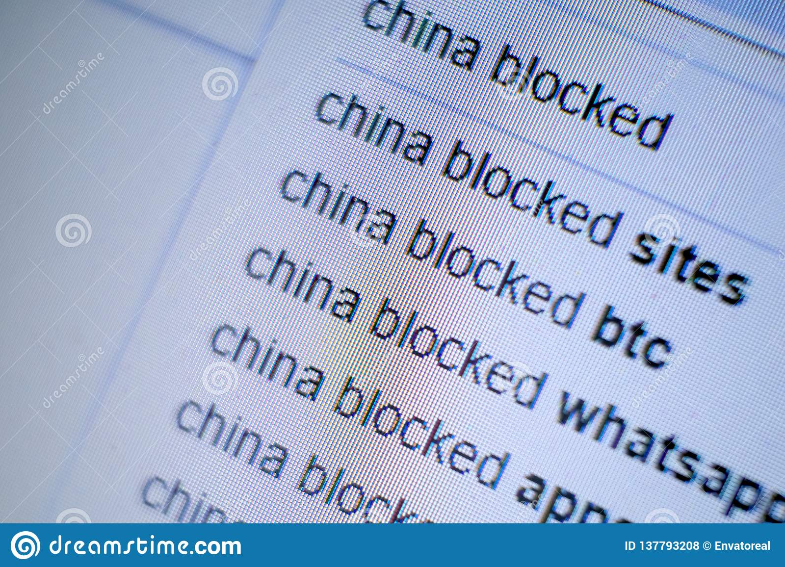 Screen monitor with an inscription in the search engine: China blocked. The concept of international sanctions, the ban
