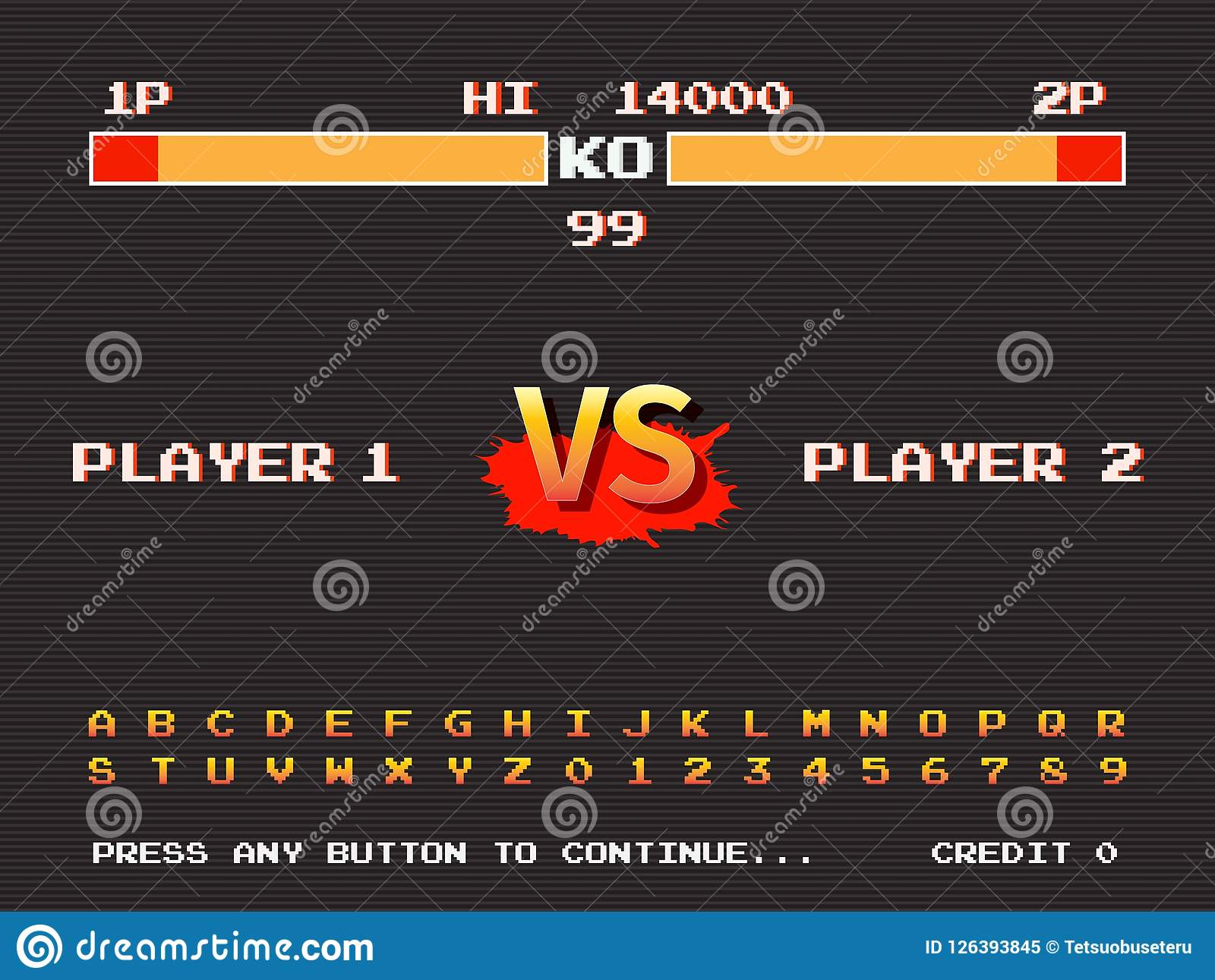 screen retro game arcade machine template of fighting arcade stock