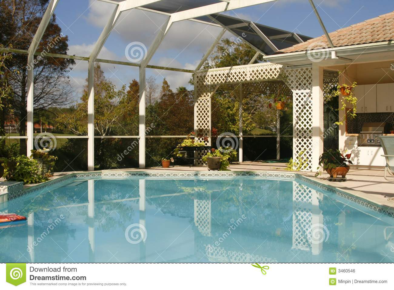 Swimming Pool Screening : Screened lanai with pool royalty free stock image