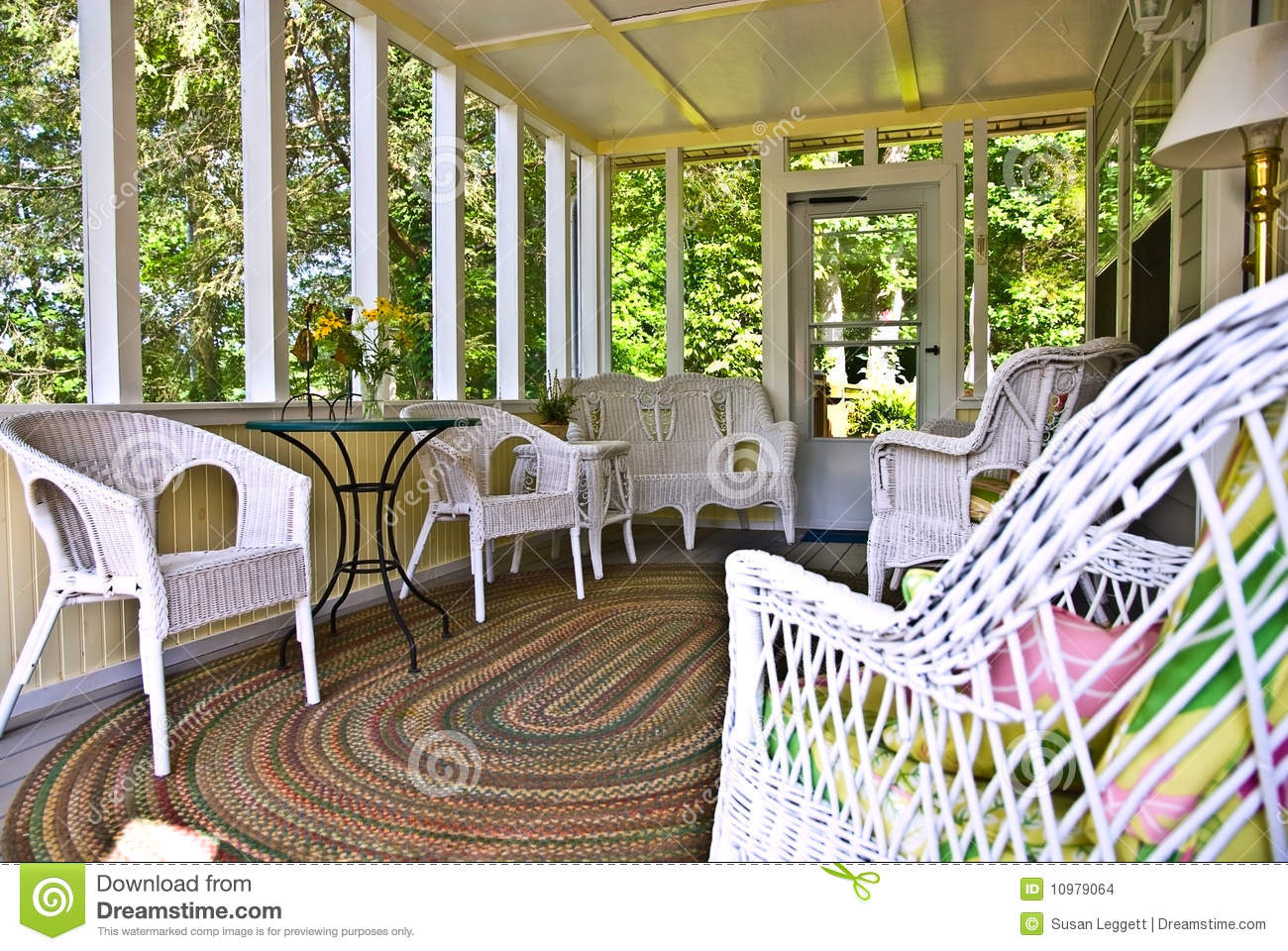 Screened Porch With White Wicker Stock Photo Image 10979064
