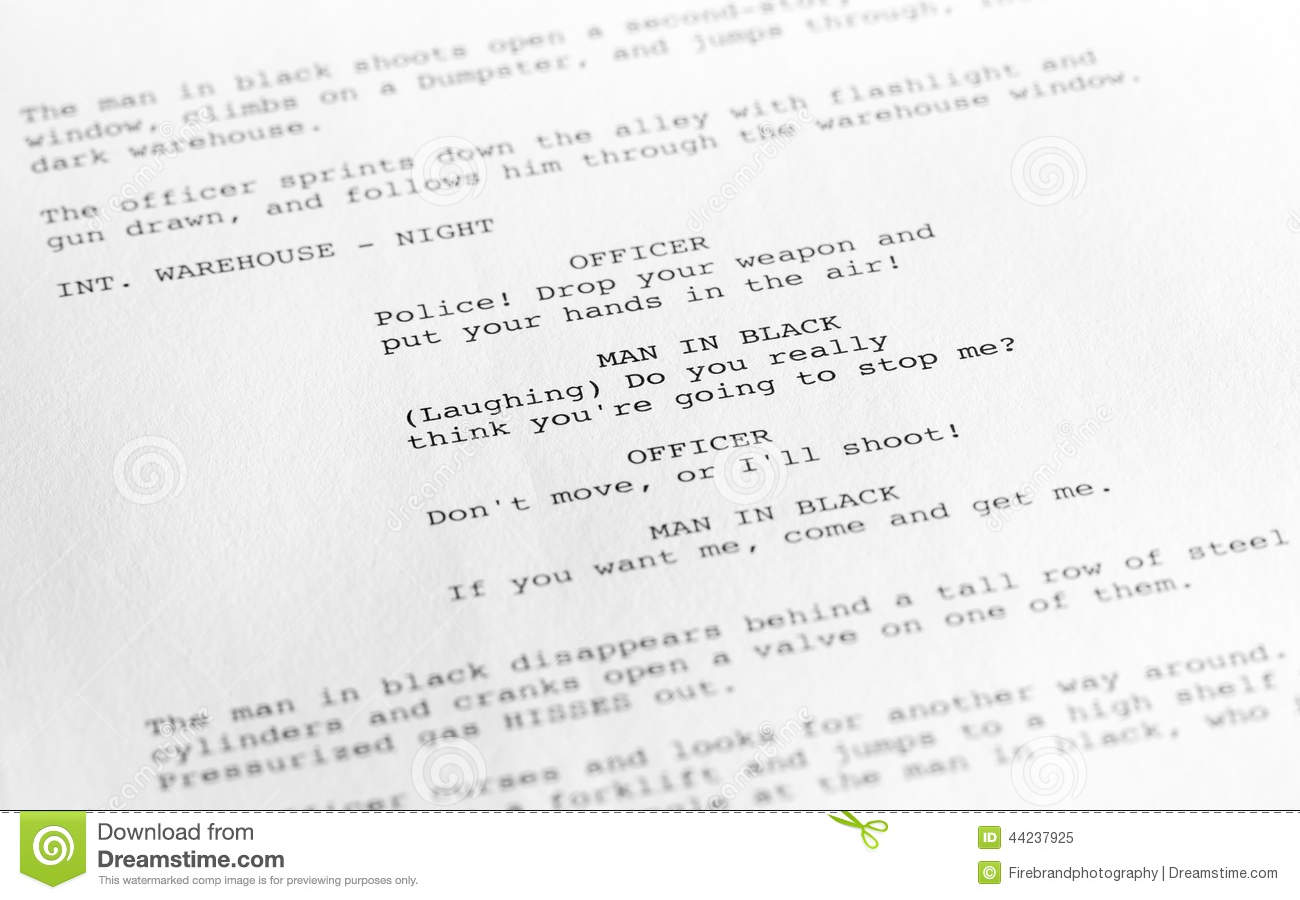 Screenplay Close Up 1 Generic Film Text Written By