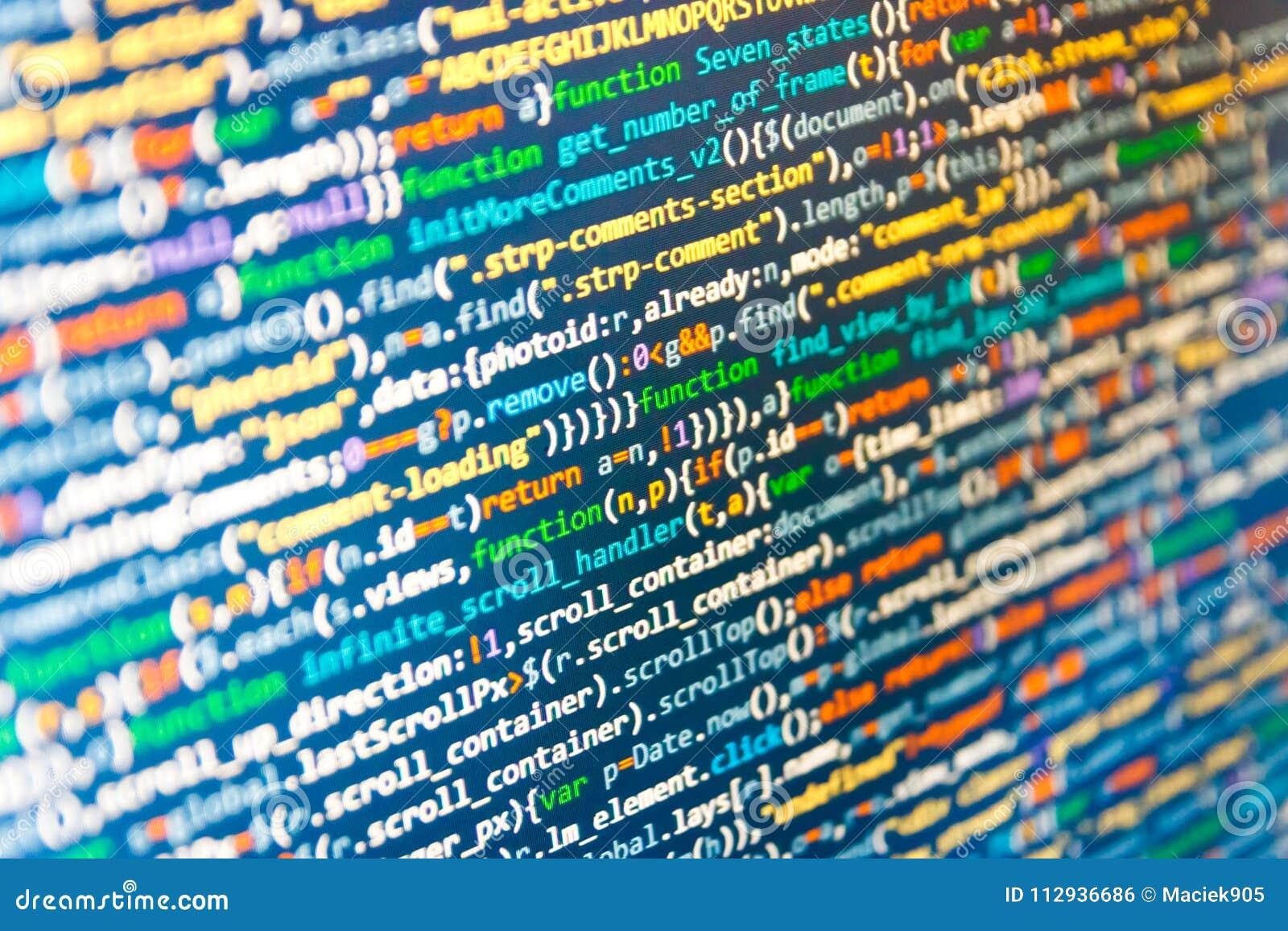 Screenshot With Random Parts Of Program Code  Stock Photo