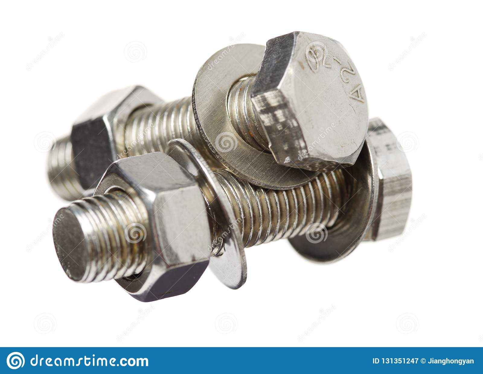 Screw, Bolt, Stud, Nut, Washer And Spring Washer Stock Image