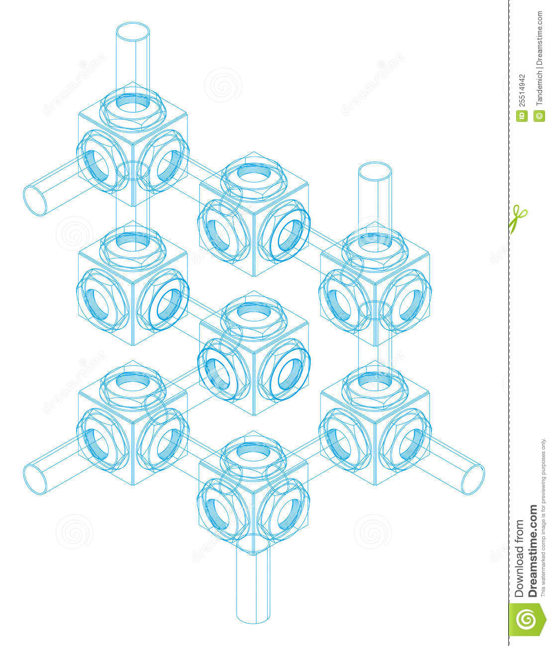 Stock Photography  Screw-nut  isometric projection  engineering graphEngineering Graphics Isometric Projection