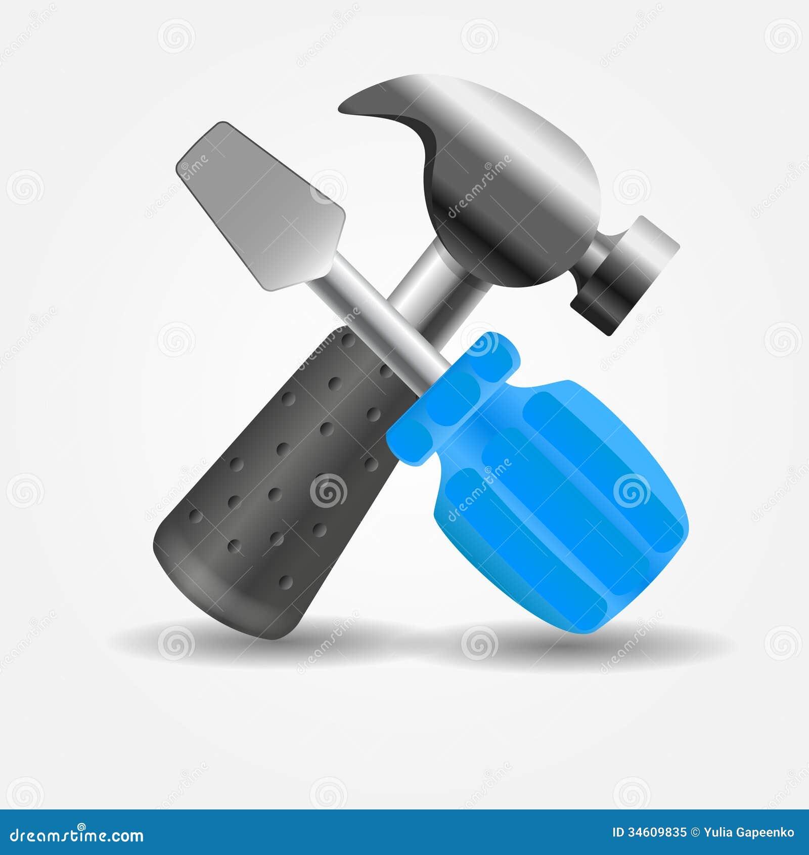 Vector Illustration Hammer: Screwdriver And Hammer Icon Vector Illustration Stock