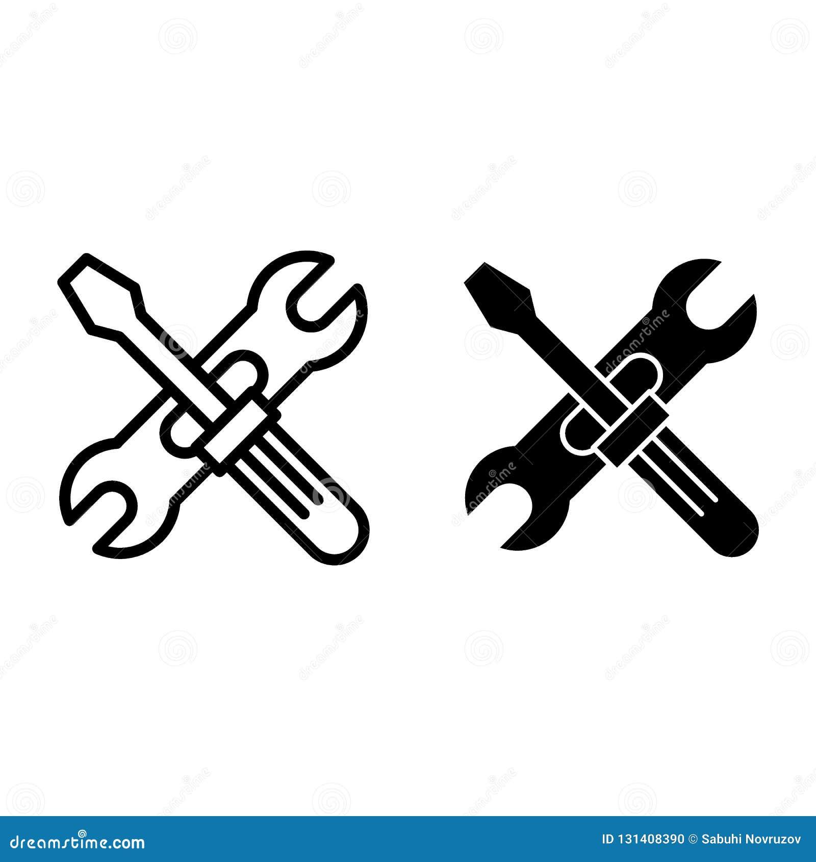 Screwdriwer och för justerbar skiftnyckel linje och skårasymbol Reparationsvektorillustration som isoleras på vit Skruvmejsel och