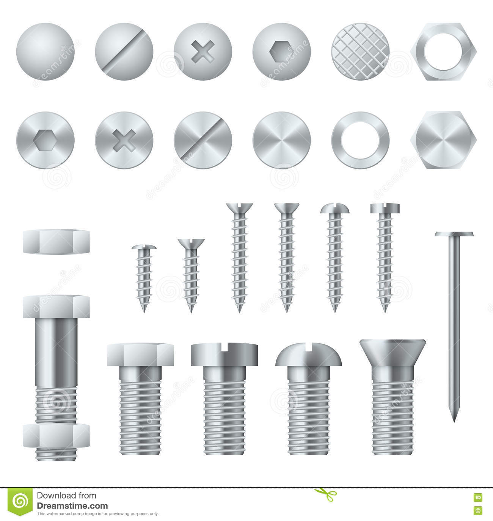 Screws bolts nuts nails and rivets realistic vector - Ecrou a sertir ...