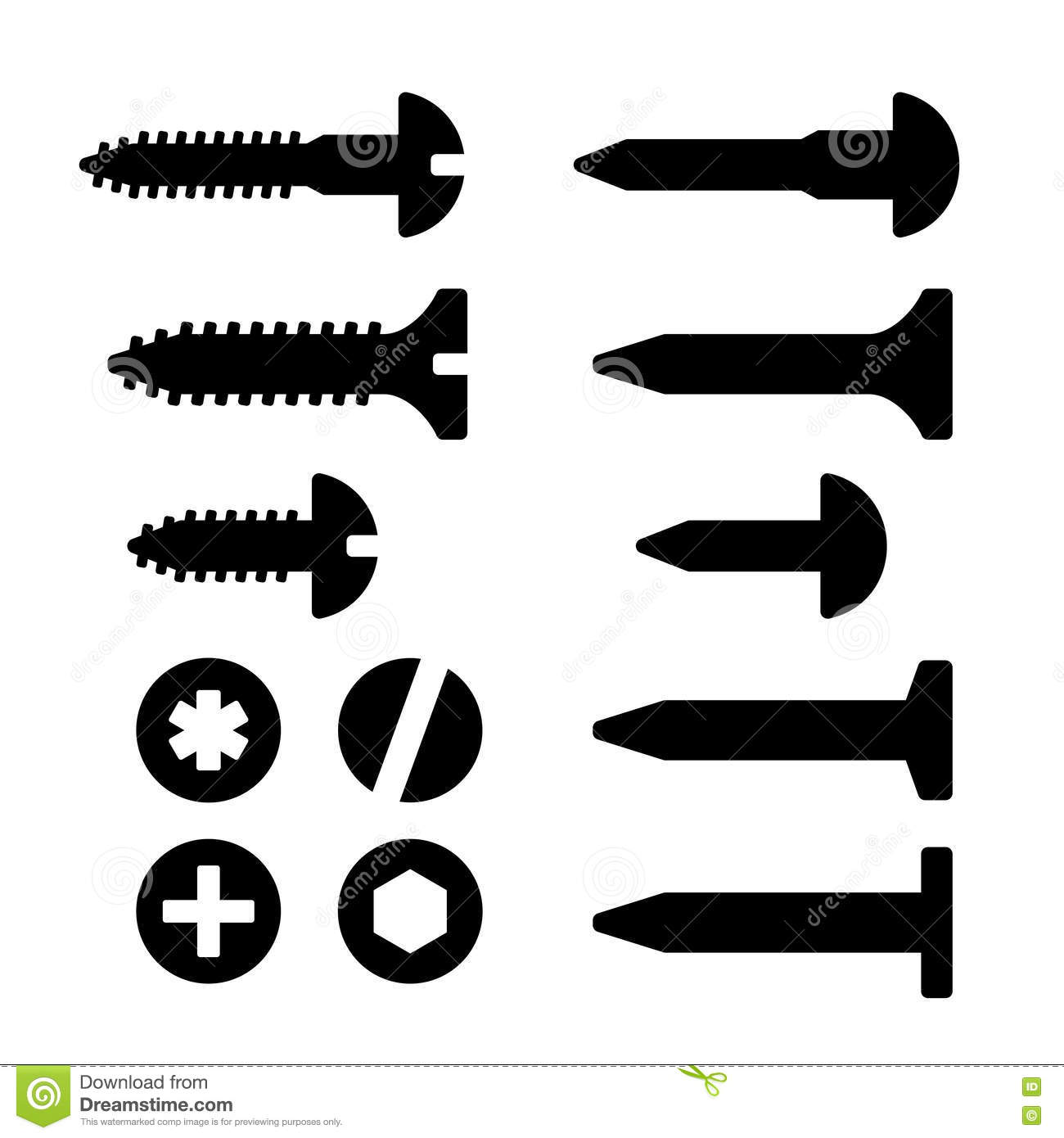 Screws, Nuts And Nails Icons Set Royalty Free Stock Images - Image ...