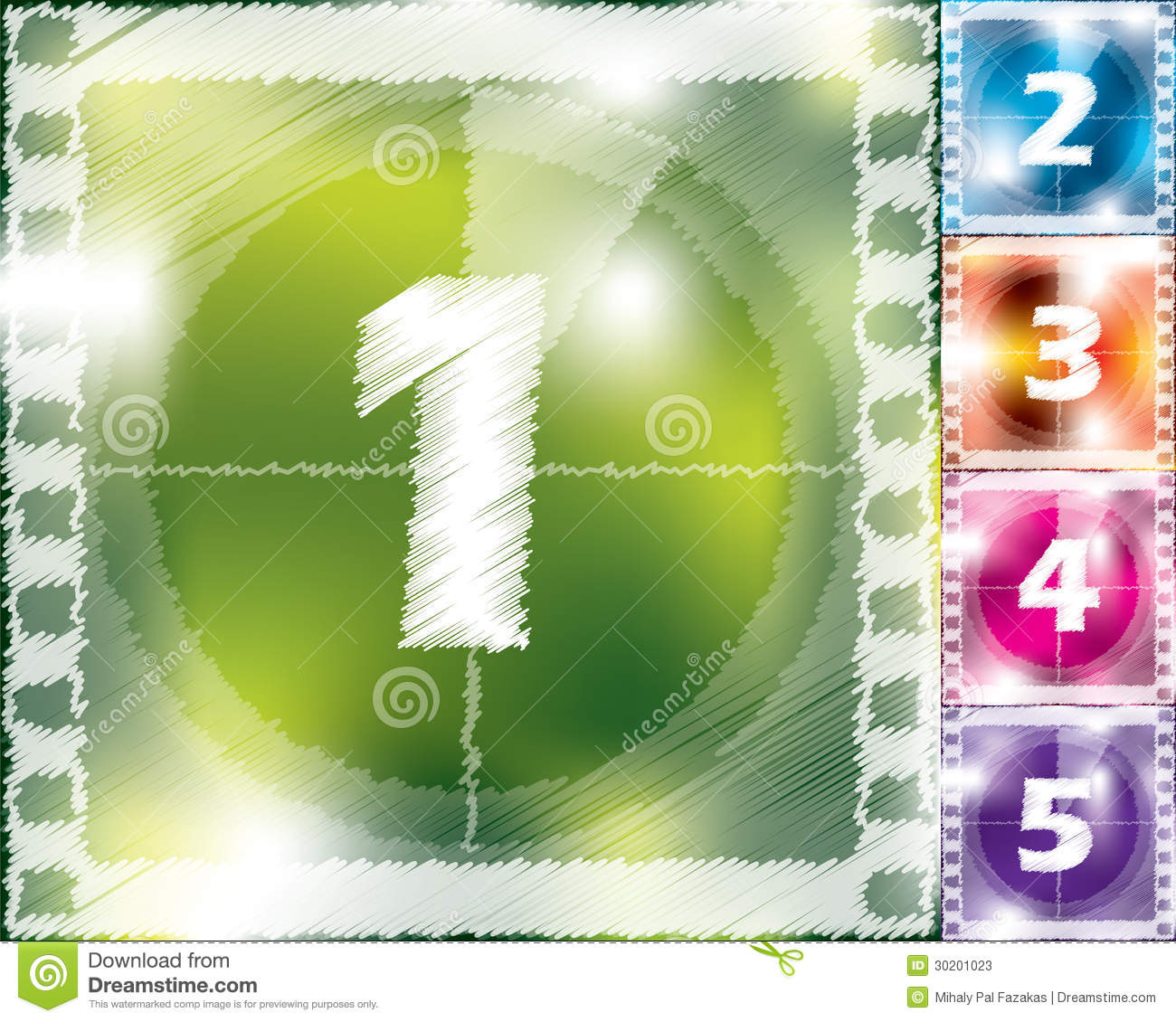 Scribbled Countdown Design From 5 To 1 Stock Vector ...