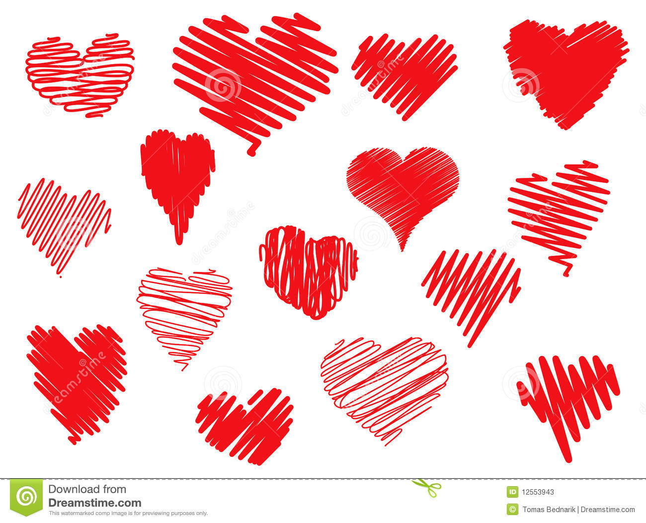 Scribbled Hearts Stock Photos - Image: 12553943
