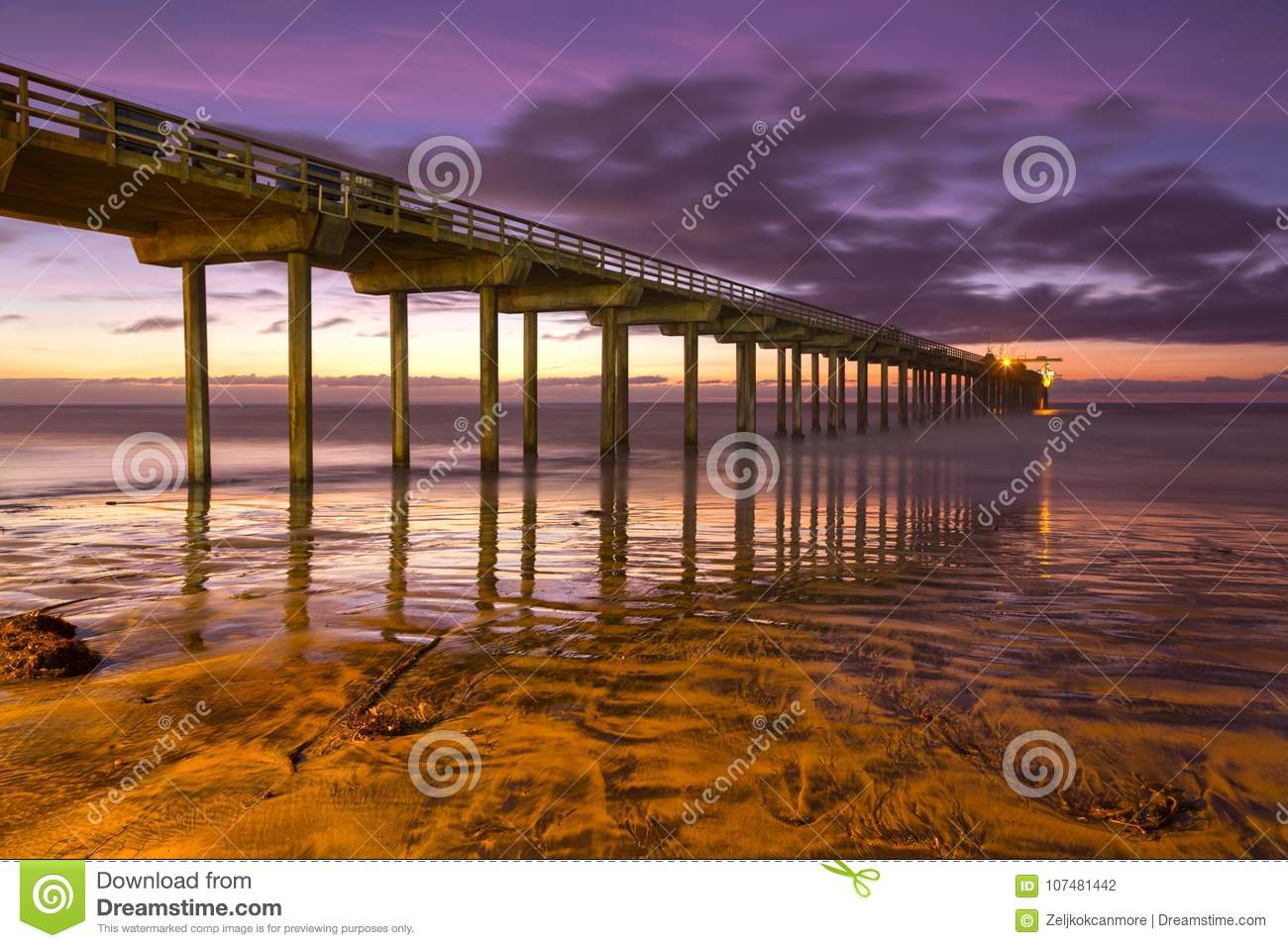 Scripps Pier Sunset Colors La Jolla Shores Beach San Diego California