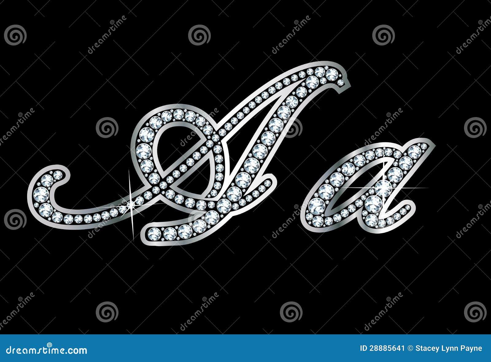 script diamond bling aa letters stock image