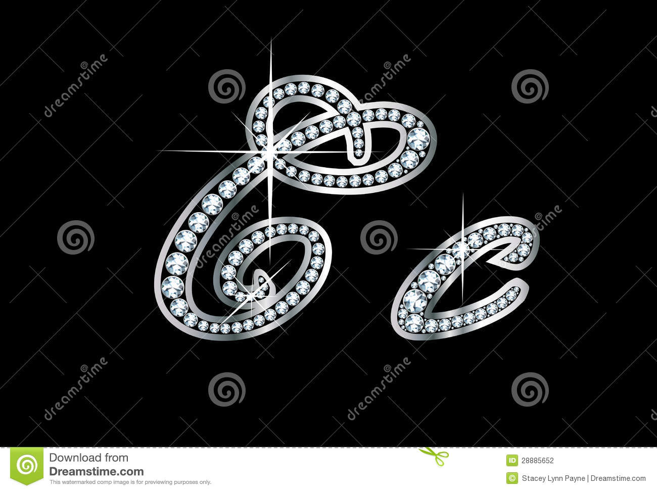 Script Diamond Bling Cc Letters Stock Vector  Illustration Of