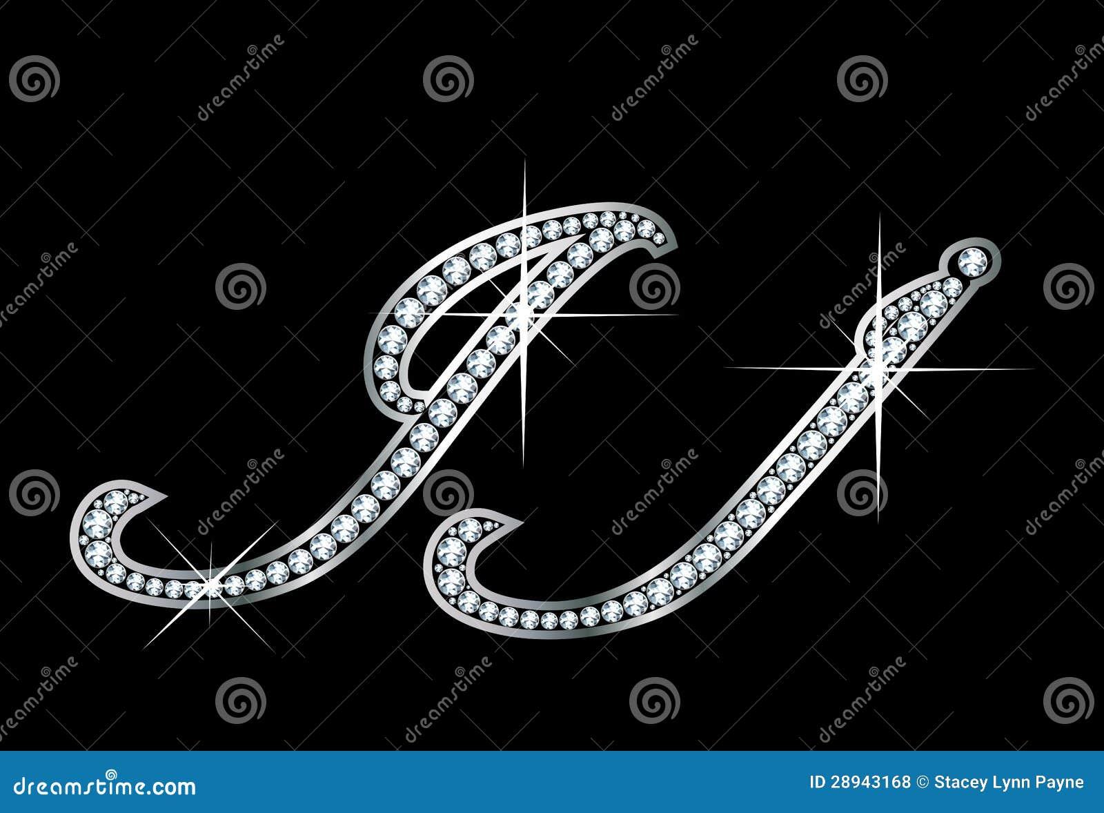script diamond bling jj letters stock photo