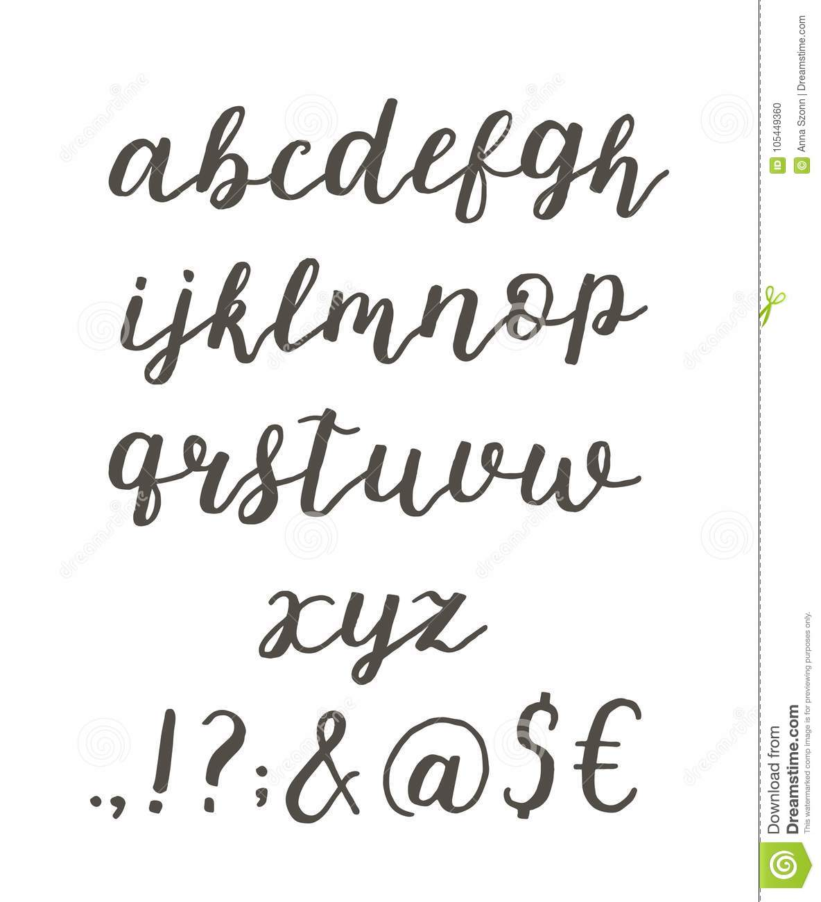 Script font alphabet written with a brush. Vector alphabet.