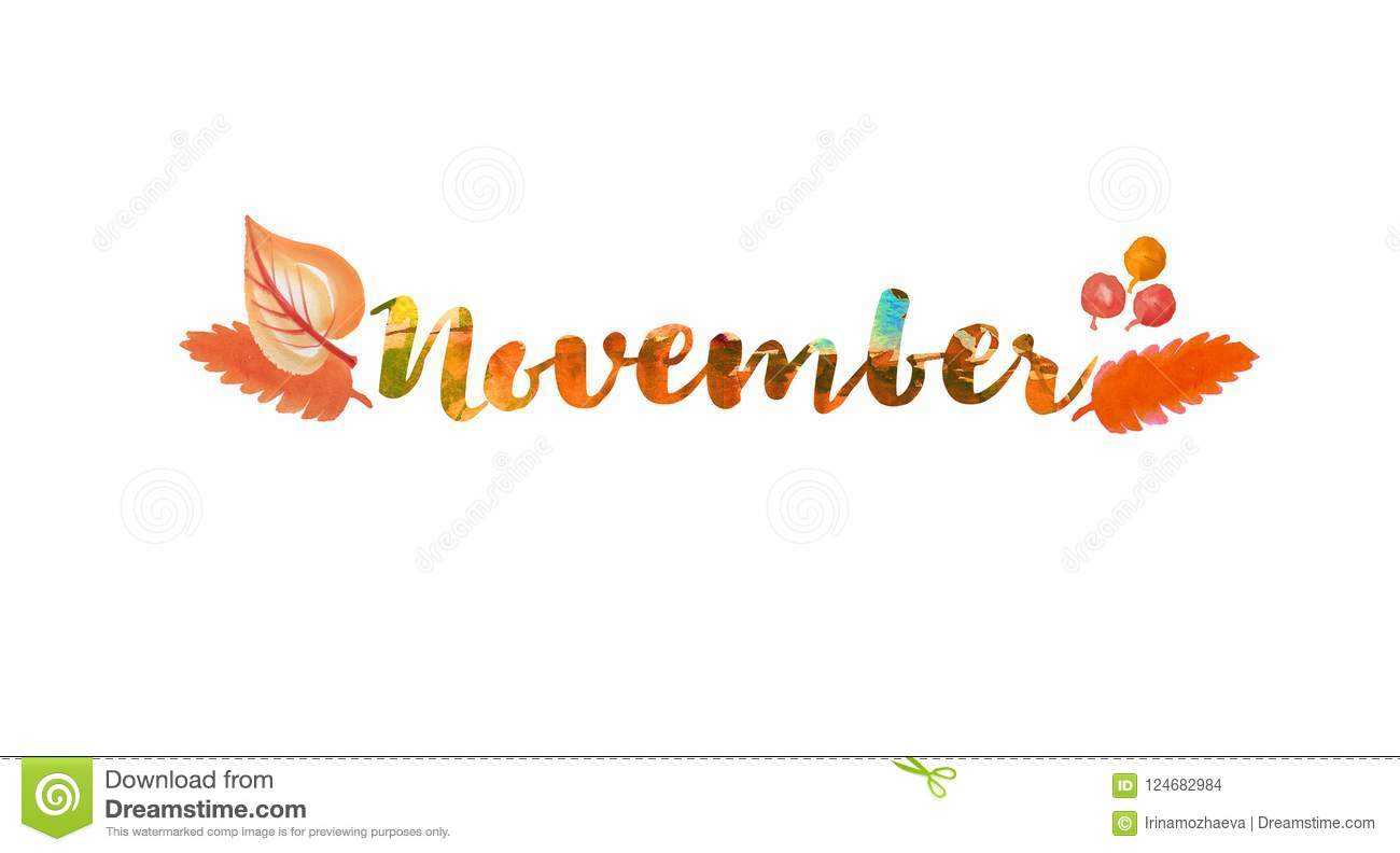 November Word Text Lettering Typography Bright