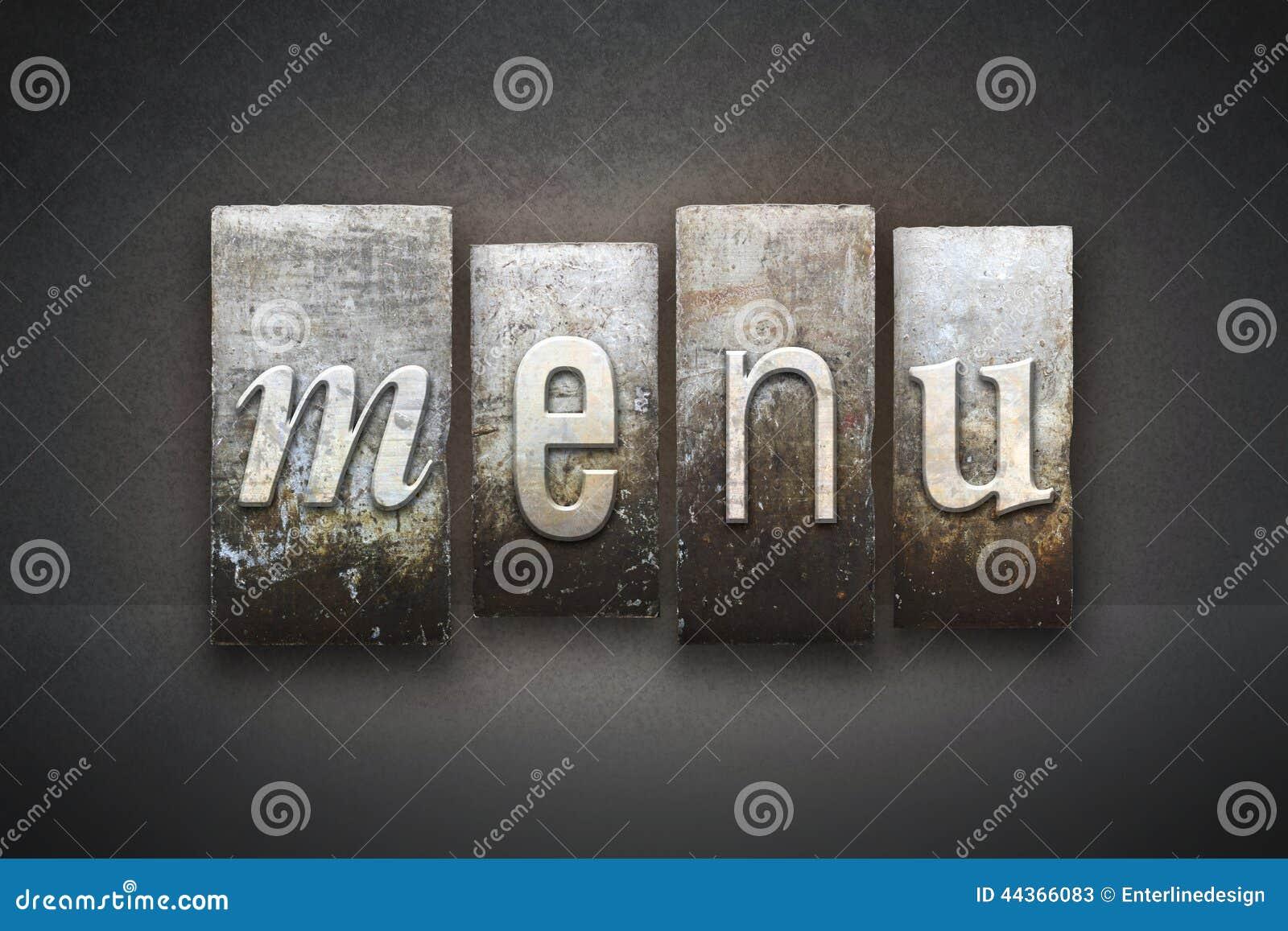Scritto tipografico del menu