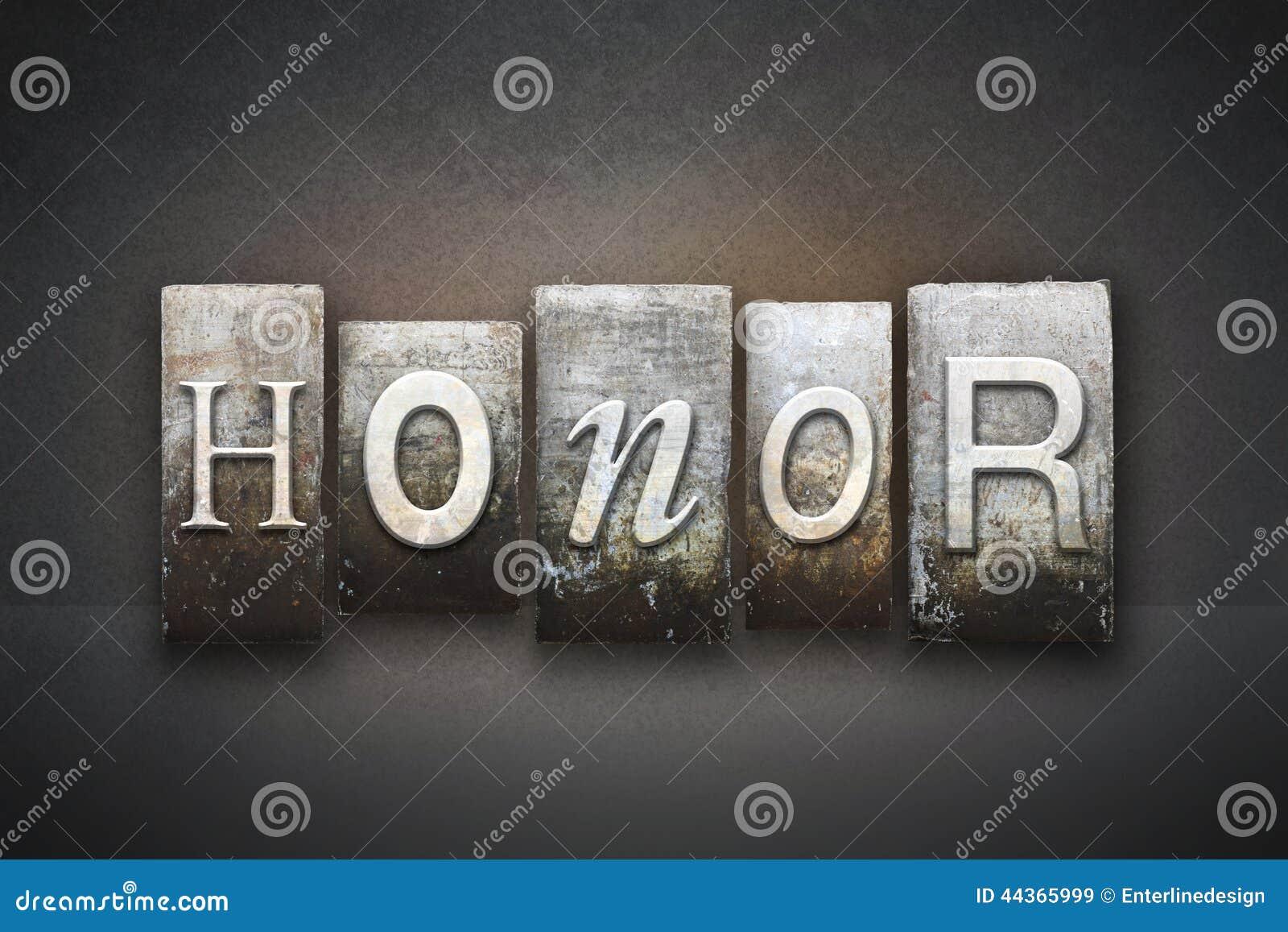 Scritto tipografico di onore