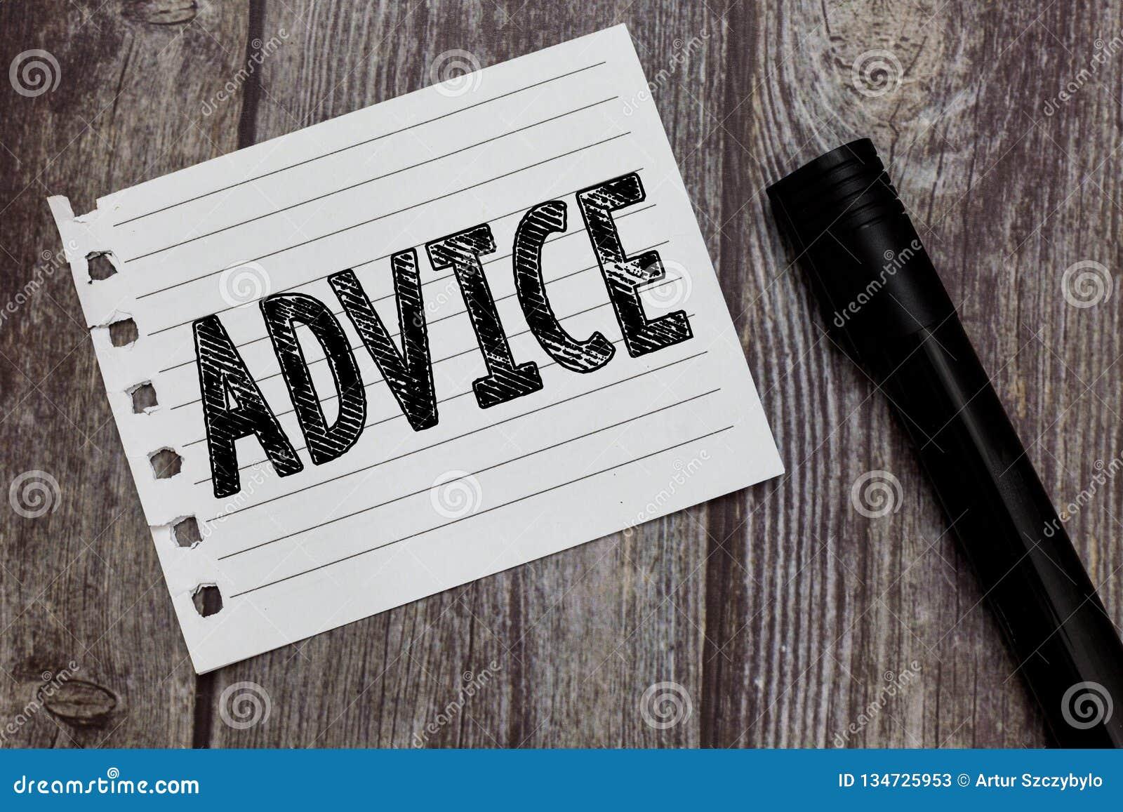 Scrittura concettuale della mano che mostra consiglio L orientamento o le raccomandazioni del testo della foto di affari ha offer