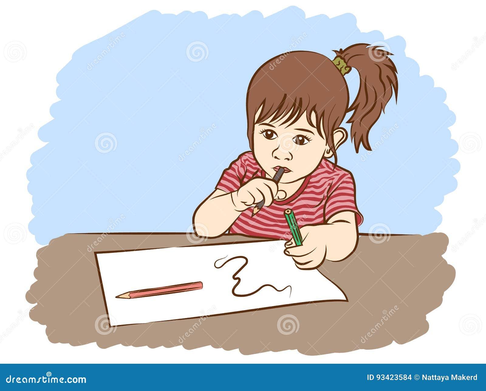Scrittura della bambina nella carta