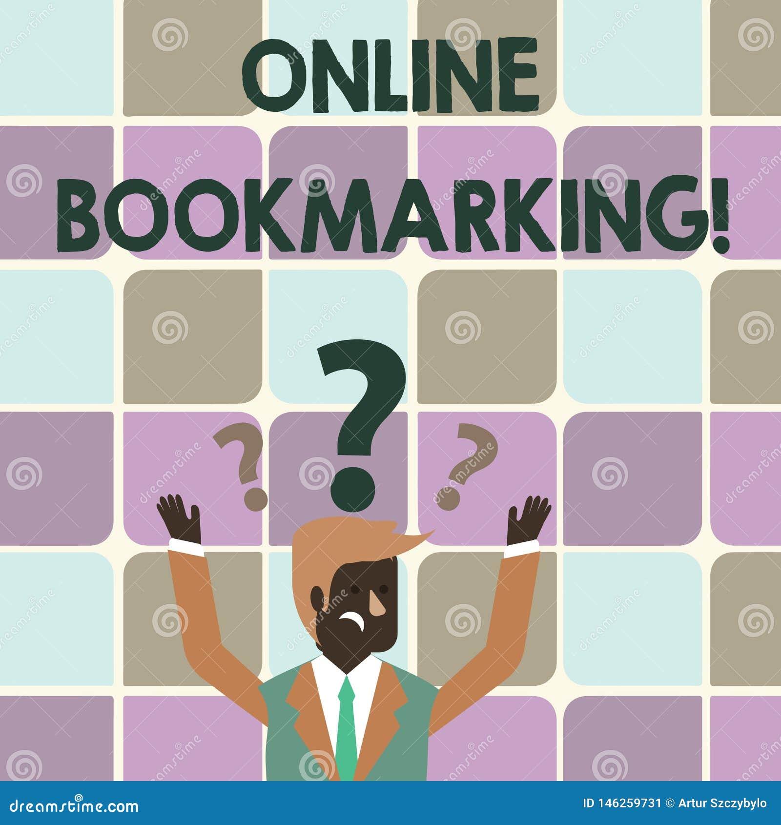 Scrittura della nota che mostra Bookmarking online Montrare della foto di affari usato per conservare un indirizzo URL per riferi