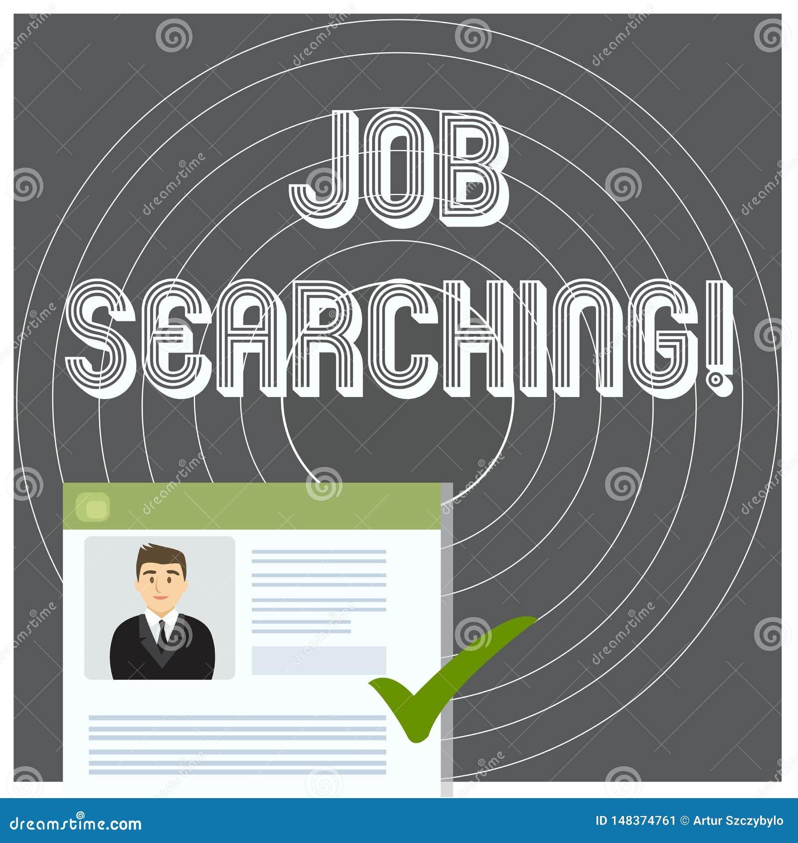 Scrittura della ricerca di lavoro di rappresentazione della nota Foto di affari che montra l atto di ricerca ricerca di lavoro di