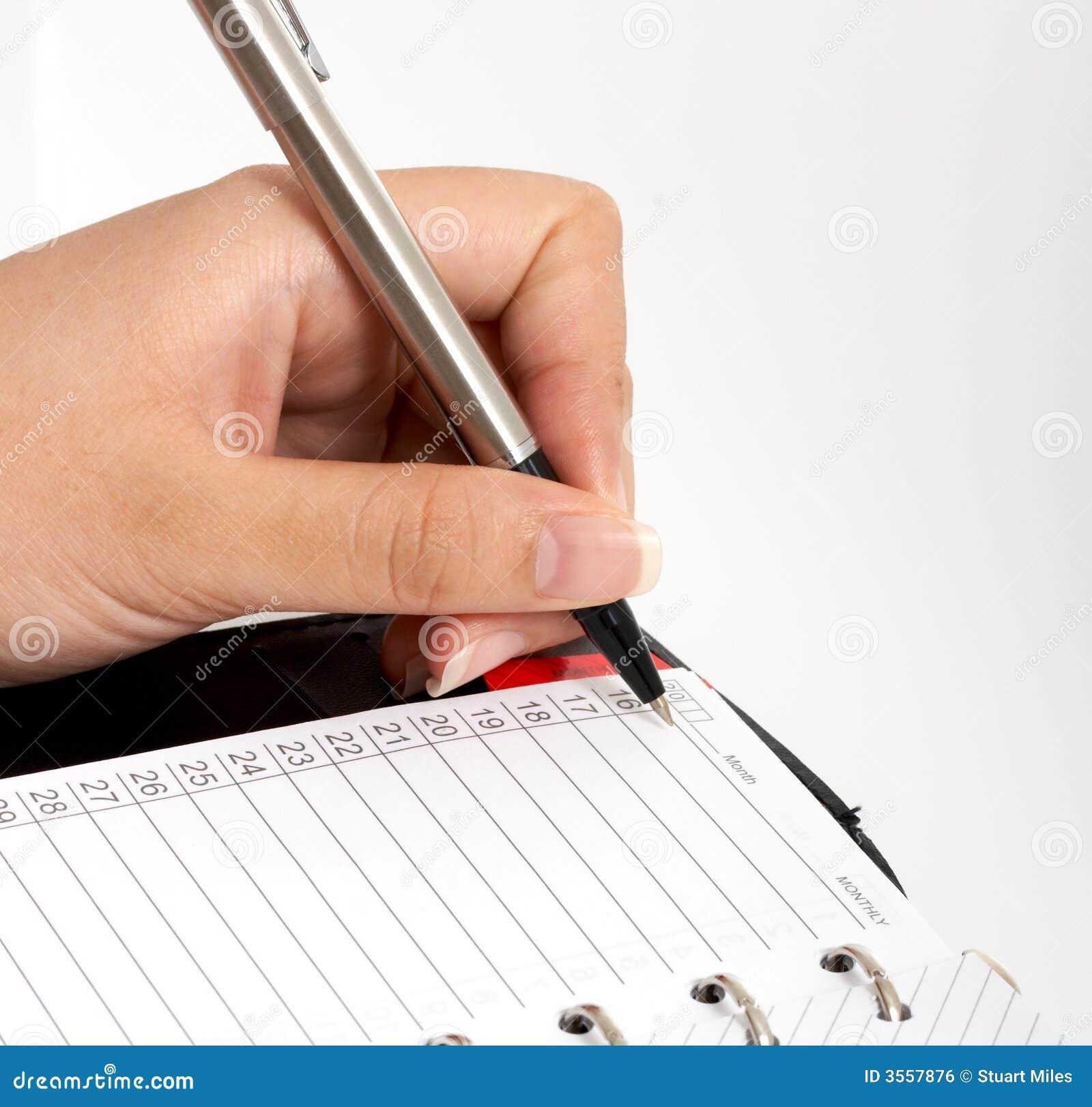 Scrivendo su un organizzatore